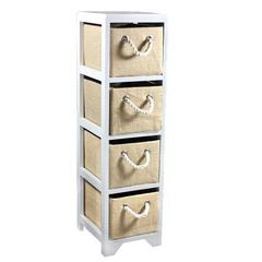 Benzara Slenderize Bin Storage 4 Drawer
