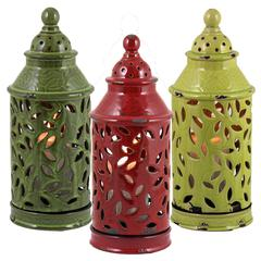 Benzara Set Of 3 Assorted Chic Looking Ceramic Lantern Jars