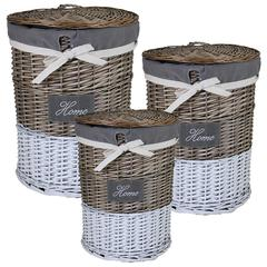 Benzara Useful 3Pc Round Willow Hamper