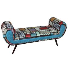 Comfortable And Stylish Fabric Wooden Bench