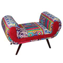 Stunning And Comfortable Fabric Wooden Bench