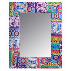 Benzara Uniquely Designed Wood And Fabric Framed Mirror