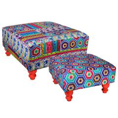 Benzara Ovely And Unique Set Of 2 Fabric Wooden Stools