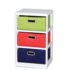 Benzara Colorful Wooden Cabinet - 3Drawer