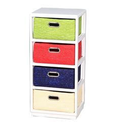 Benzara Vivacious Wooden Cabinet - 4Drawer