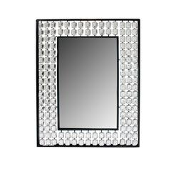 Benzara Attractively Styled Metal Mirror With Stones