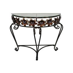 Benzara Stylish And Useful Metal Table With Flowers