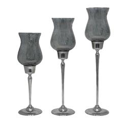 Benzara Antique Like 3Pc Smoke Luster Candle Holders