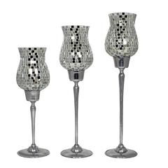 Dazzling 3Pc Clear Mosaic Candle Holders
