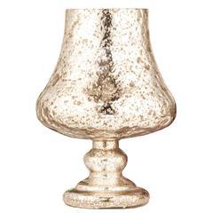 Benzara Stylish Silver Half Crackled Candle Holder