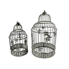 Benzara Stylish, Cool Set Of 2 Bird Cage Metal Candle Holder