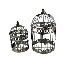 Benzara Artistic Set Of 2 Bird Cage Metal Candle Holder