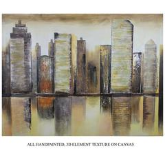 Benzara Alluring Building Themed Oil Painting