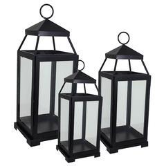 Benzara Striking Black Polished 3Pc Lantern Set