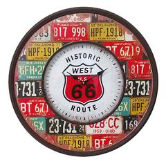 Benzara Stunning And Rustic Wooden Metal Route 66 Wall Clock