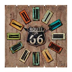 Benzara Square Shaped Route 66 Themed Wooden Wall Clock