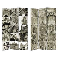 Benzara Neo-Gothic Style Room Divider - Cathedral Sketches
