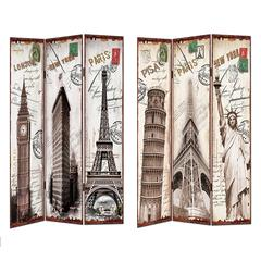 Benzara Antique Styled Room Divider - Liberty, Eiffel Tower Images
