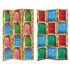 Benzara Vibrant Multihued Room Divider - Doors Pattern