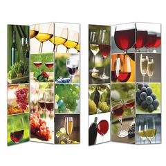 Benzara Enthralling Room Divider -Wine Theme