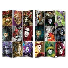 Benzara Contemporary Styled Room Divider- Masks Theme