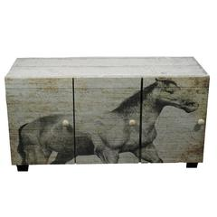 Benzara Antique Horse Themed Stylish Wooden Cabinet