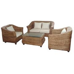 Captivating Seagrass 4Pc Sofa Set With Coffee Table