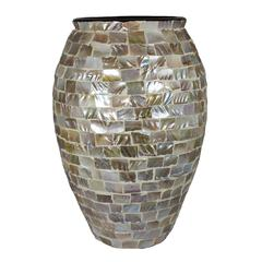 Benzara Attractively Styled Mother Of Pearl Encrusted Vase
