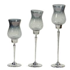 Benzara Unique And Cool 3Pc Hurricane Candle Holder