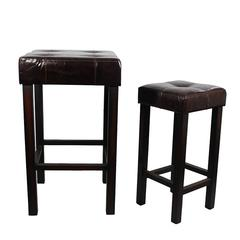 Benzara Comfortable 2 Pc Wood Leather Stool Bar