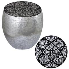 Eccentric Black Damask Art Metal Stool