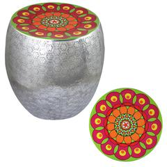 Benzara Appealing Flower Kaleidoscope Metal Stool