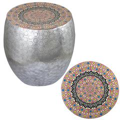 Quirky Style Kaleidoscope Art Metal Stool
