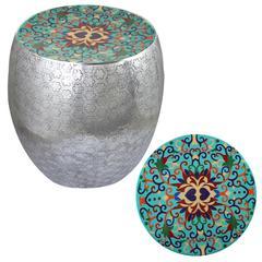 Teal Damask Art Metal Stool