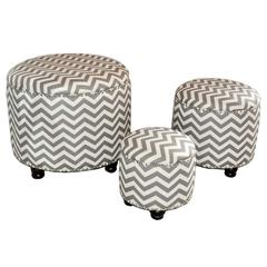 Benzara Cool Zig Zag Patterned Set Of 3 Wood Linen Ottoman