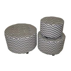 Benzara Marvellous And Lovely 3Pc Wood Linen Round Ottoman