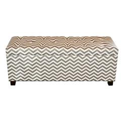 Benzara Trendy And Zig Zag Patterned Wood Storage Ottoman