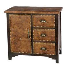 Benzara Timeless And Royal Wood Leather Cabinet