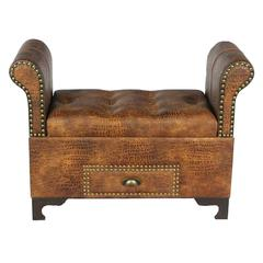 Benzara Elegant And Royal Wood Leather Bench