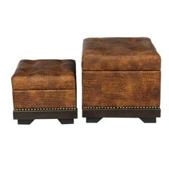 Benzara Traditional 2Pc Wood Leather Ottoman