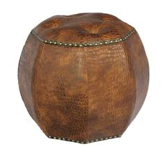 Benzara Unique And Comfy Wood Leather Ottoman