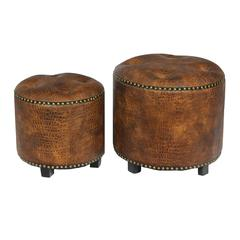 Benzara Soft And Strong 2Pc Wood Leather Ottoman