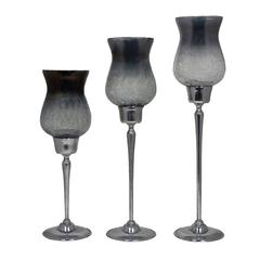 Benzara Cool 3Pc Candle Holder Smoke Luster Half Crackled