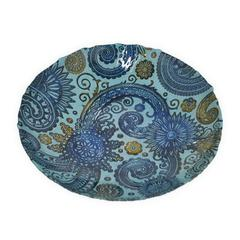 "Benzara 12"" Blue and Golden Glass Plate, Blue and Gold"