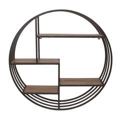 Benzara Modern Styled Metal Wall Rack With Wood Shelves