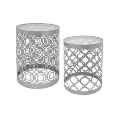 Creatively Styled Set Of Two Silver Metal And Glass Table