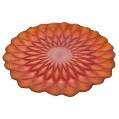 Benzara 42084 Orange Glass Votive Plate, Orange