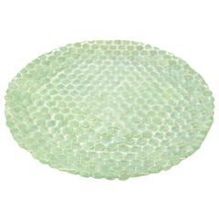 Benzara 42086 Green Glass Votive Plate, Green
