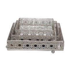Modern Styled Set Of 3 Silver Pierced Tray