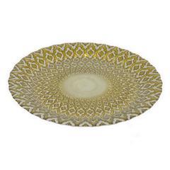 """Benzara 12.75"""" Golden Glass Plate, Gold"""